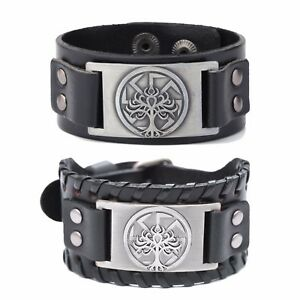 Slavic Pagan Kolovrat Tree Of Life Yggdrasil Leather Bracelet for Men