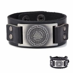 Viking Norse Runes Valknut Symbol Metal Charm Leather Bracelet for Men