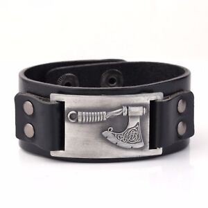 Slavic Celtic Knot Perun#x27;s Axe Metal Charm Leather Bracelet for Men