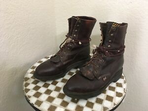 DISTRESSED USA VINTAGE 761 JUSTIN BROWN LEATHER TRUCKER WORK BOOTS 8.5 D