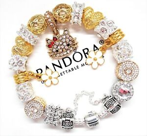 Authentic Pandora Silver Charm Bracelet With Gold Hello Kitty European Charms~