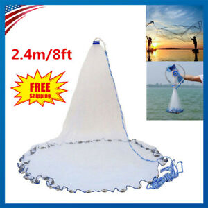 8ft Nylon Mesh Cast Net Saltwater Easy Throw Bait Casting Net with Real SinkerUS