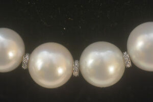 Wonderful Genuine South Sea White pearl Necklace top huge 18mm round 19