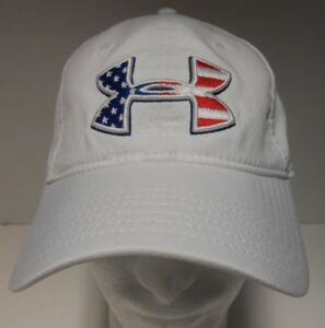 Under Armour USA American Flag OSFA White Hat Cap Red White Blue Lightweight!