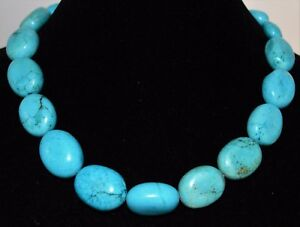 Turquoise Necklace Large Nuggets Natural Statement Bead Blue Silver Tone Clasp