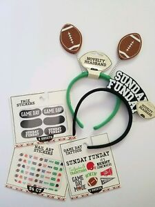 🏈Sunday Funday Football Tailgate Party Accessories 2HeadbandNail Face Stickers