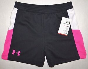 UNDER ARMOUR Girls Athletic Mesh Shorts Heatgear BLACK Pink White Little Kids 5