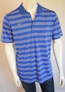 NIKE  Game Time Polo Shirt Dry Fit Stripes Men's SZ Medium in Blue and White