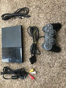 Sony PlayStation 2 Charcoal Black Console (SCPH-90001) & 64MB MC + 26 GAMES