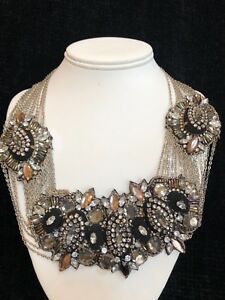 Stunning SUZANNA DAI BlackSilver with Silver Chain Statement Necklace 18