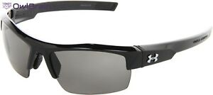 Sunglass Shiny Black Frame Under Armour Igniter With Gray Lens With SOft Case