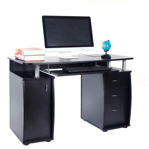 Modern Computer Desk with 2 Drawers Office Laptop PC Workstation Study Table