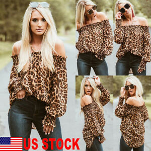 Women Leopard Print Long Sleeve Off Shoulder Loose T Shirt Casual Blouse Tops