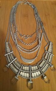 RARE!! Lucky Brand Silver Bib Statement Necklace. Retail $125