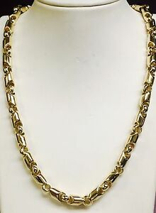 18kt Yellow Gold Bullet Link men's Chain Necklace 36