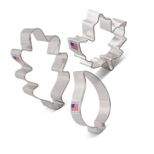 Fall Leaves Cookie Cutter Set with Recipe Book - 3 piece - Mapl... Free Shipping