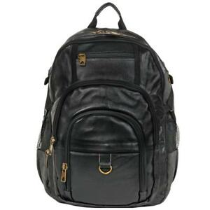 Wilsons Leather Mens Hunter Laptop Compatible CanvasLeather Backpack Black