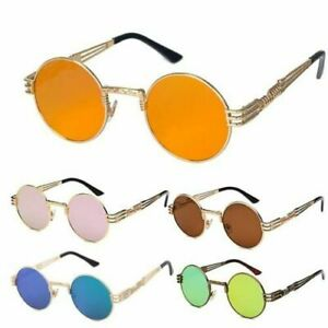 Vintage Retro Steampunk Sunglasses Luxury Designer Round Circle Hippie Glasses
