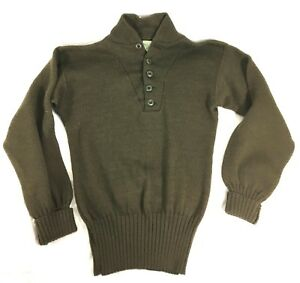 Vintage 1985 US ARMY Military Cadigan Pullover Sweater Size Med (3840) #A37