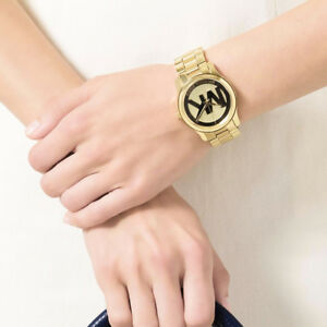 New Authentic Michael Kors Women 38mm Case Gold Logo Bracelet Watch MK5786 $250