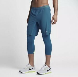 Nike AeroSwift 2-in-1 Hybrid 34 Mens Running Shorts Tights 852321 Blue Size XL