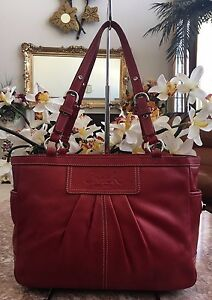 Coach East West Gallery Red Patent Leather Tote Shoulder Handbag F13759 EUC!