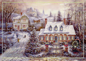 Holiday Magic Homes on Snow Covered Hill Box of 14 Silver Foil Christmas Cards $13.99