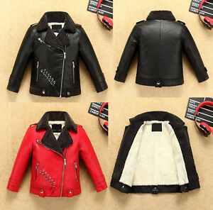 Kids Boy Girl Winter Warm Fleece Lined Leather Jacket Biker Coat Thick Outerwear
