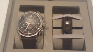FOSSIL - MENS BROWN LEATHER WATCH AND BRACELET GIFT SET - BQ2277SET NWT