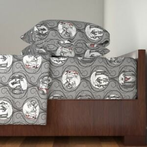 Wolf Forest Fairy Tale Folklore Gothic Cotton Sateen Sheet Set by Roostery
