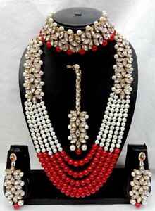 Wedding Indian Fashion Diwali Bridal Pearl Jewelry Gold Necklace Earring Set