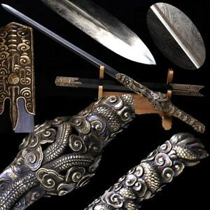 Highest grade Swim dragon sword Hand Forged Feather grain Pattern steel #3704