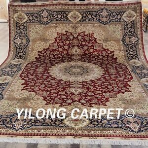Yilong 9'x12' Large Hand-knotted Carpets Floral Design Handmade Silk Rugs S180A