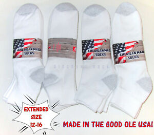 6 12 Pairs Big Mens Extended Size 12 16 Soft Cotton Blend White Ankle Socks US