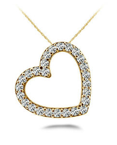 NEW 14k YELLOW GOLD DIAMOND FLOATING HEART LOVE PENDANT NECKLACE JEWELRY