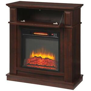 Infrared Electric Fireplace TV Stand Fan Heater Blower Remote Adjustable Cherry