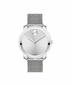 MOVADO BOLD 3600241 THIN Dial Silver Stainless Steel Mesh Bracelet 36mm Watch