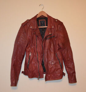GUESS Los Angeles Perfecto Burgundy 100% Leather Moto Motorcycle Jacket Men's M