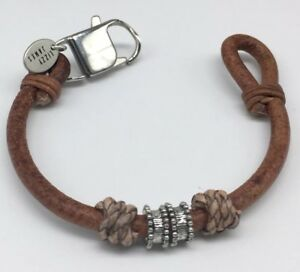 Lizzy James Natural Light Brown Leather Rope Dylan Bracelet Braided Accents Boho