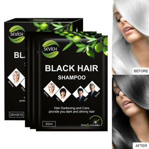 Black Hair Coloring Shampoo Fast Hair Dying 10 Pcs Only 5 Minutes Hair Color