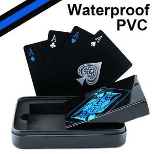 Creative Waterproof Black Plastic PVC Poker Magic Table Board Game Playing Cards