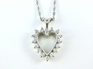 14K White Gold Heart Pendant w 16 White Sapphires & 14K White Gold 16