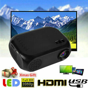 Full HD 1080P LCD Mini Projector LED Multimedia Home Theater USB VGA HDMI AV TF