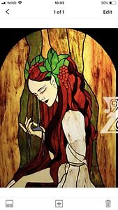 Stained Glass Panel  Vitraux Lady Autumn