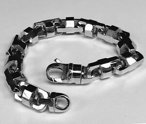 14k Solid White Gold Anchor Mariner Bullet Men Link Bracelet 13.5MM 165 grms 11