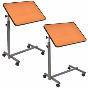 2PC Overbed Rolling Table Over Bed Laptop Food Tray Hospital Desk WTilting Top