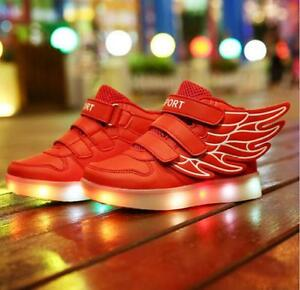 Boys Girls LED Light up USB Charger Sneakers Wings Kids high Shoes BD35 $49.74