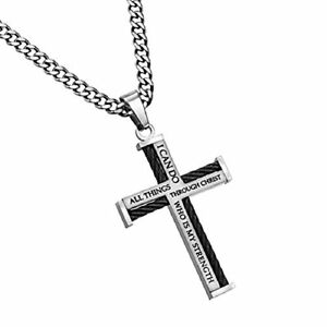 Stainless Steel Cable Cross Necklace for Men Bible Verse (24.0 Inches)