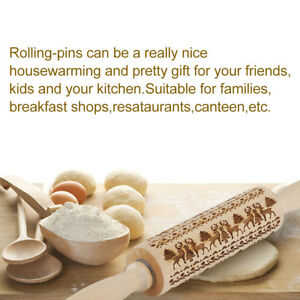 Christmas Embossing Rolling Pin Engraved Wooden Rolling Embossed Rolling Pin E1R