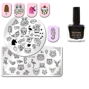 Round Rectangle Nail Stamping Plates with Black Color Stamp Nail Polish DIY Set